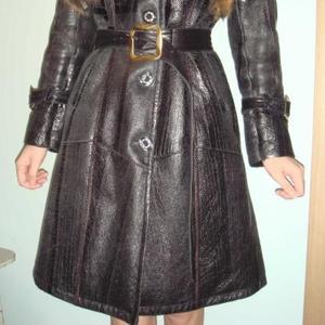 Продам женскую кожаную черную дубленку